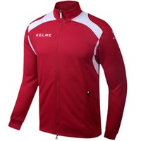 Wholesale Kelme KMC160001 Men Long Sleeve Stand Collar Leisure Running Sport Training Football Knit Jacket Red