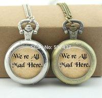alice locket - Alice In Wonderland Pocket Watch We are all mad here Jewelry Glass Locket Necklace Vine Pocket Watch Necklace