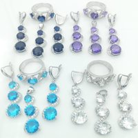 Wholesale 2016 Hot new Blue Sapphire Jewelry Sets For Women Silver Necklace Pendant Earrings Rings Size Free Jewelry Box