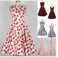 audrey hepburn prints - 3 color LJJK133 Vintage s Rockabilly Audrey Hepburn Cherry Boat Neck Cherry Printed Swing Dress Retro Swing s s pinup Dress