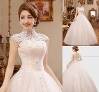 skirting direct - Vintage A Line Wedding Dresses Factory Direct Sheer High Neck Tulle Lace Applique Handmade Beaded Plus Size Wedding Bridal Gown KD