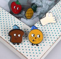 african bread - X080 Cute Smail Face Fruit Orange Pineapple Strawberry Bread Brooch Pins Fashion Jewelry
