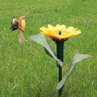 attract birds - EMS set Solar power garden hummingbird sunflower flower simulation bird toy solar Energy battery combo Attract butterfly toys