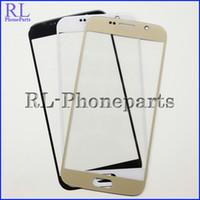 DHL 100pcs / lot pour Samsung Galaxy S6 G9200 G920F G920A G920T G920V LCD Front digitizer écran lentille extérieure verre blanc noir bleu Gold + logo