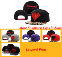 baseball support - New Brand Diamond Snapback Caps Leopard Ajustable hat Unisex Hip Hop Fans supports baseball hat