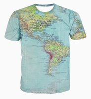 Wholesale 2016 new map of the world D printing men s Short Sleeve T Shirt Tee Shirt Mens