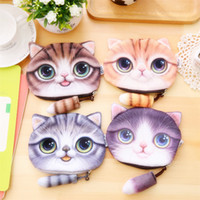 Wholesale Cute Animal Cartoon D Cat Face Printed Coin Purse Case Girls Mini Wallet with Zipper ARC407