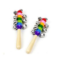 Wholesale Colorful Rainbow Baby Hand held Rattle Wooden with Metallic Jingle Ring Bell Baby Educational Sound Toys in a set