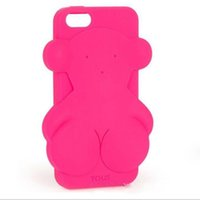 bear hug - Cartoon Solid color Willows Hug bear Silicone phone case for iphone s plus Mobile Phone Cover