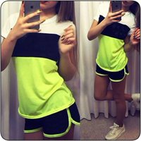 Wholesale 2016 summer new style short sleeved cotton tri color stitching shorts suit A27