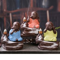 Wholesale Three No Little Monk Ceramics Backflow Incense Burner Keep A Good Mood Use In The Home Office Teahouse