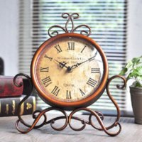 bell way homes - Europe type restoring ancient ways frame wrought iron table clock creative home wall clock bell bedroom Classic adornment