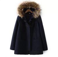 Wholesale 2016 spring Winter women fashion wool cloak coat fur collar cloak woolen outerwear female loose pocket coat Jackets Blends