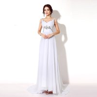 beaded garden designer - 2016 Under White Chiffon Wedding Dresses Anna Campbell Backless Crystal Beaded Floor Length Boho Beach Bridal Gown Country Style REAL