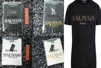 Wholesale 2016 NEW Mens Balmain Cotton T Shirt Printed Gold Letter BALMAIN PARIS XS XXL