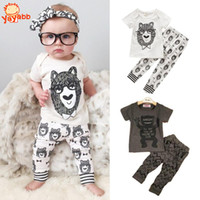 Wholesale 2016 Fashion Little Monsters Baby Boy Clothes Spring Summer Style Baby Girl Clothing Sets Short Sleeve Infant Girl Clothes