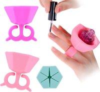 Wholesale 2016 Soft Silicone Finger Wearable Nail Gel Polish Bottle Holder color Creative Nail Art Tools Polish Bottle Display Stand Holder