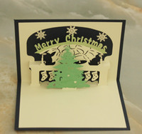 Wholesale 3D Pop Up Merry Chirstmas Greeting Card Christmas Tree Deer Dress Gift Card By Chinese Paper cut Art
