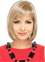 blonde wigs short hair - Magic Wig World Stylish Medium length Blonde Natural Straight Wig Short Bob Hair Wig Straight Flat Bang Cosplay Wigs
