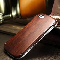 aluminum wood screws - iphone s se Case Retro Aluminum Metal Bumper Cases Wood Wooden Case with Screw Small Waist Cover for iphone s