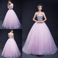 amazing stocks - 100 Real Picture In Stock Sweetheart Neck Ball Gown Quinceanera Dresses Pink Tulle Crystal Sweet Dresses Amazing Prom Dress Gown