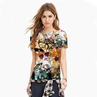 american apparel glasses - New American Apparel Women T Shirt Glasses cat Digital Printing Tops Sport Women Tees Plus Size WT