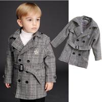Wholesale Fashion Autumn New Boy British Style Pure cotton Grid Coat