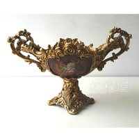 Wholesale The high end creative fruit plate retro pastoral European luxury style living room decoration decoration Home Furnishing resin