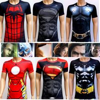 Wholesale Hot Sale New Men Sport Fitness Compression T Shirt Super Hero Cycling Jersey High Elasticity Quick Dry Tights Short Sleeve
