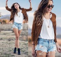 best women s leather jacket - Tassel cardigan coat Europe and America stand Best Sellers New pattern Fringed jacket Leather Cashmere Cardigan Ladies sales
