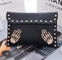 Wholesale Cartoon Heart Pillow - 2016 wallet hologram bag Envelope Bags Skeleton Hand Rivet Chain Bags Punk Handbags Personality Skull Clutch bag Messenger Bag 1356