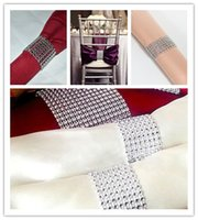 decorative mesh - Hot Sale Silver quot Rows Sparkly Diamond Rhinestone Mesh Bow Covers Napkin Ring Wedding Chair Sashes Decorative Crafts