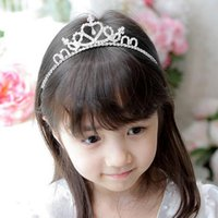 Wholesale New Fashion Cute Rhinestone Princess Kids Girls Crystal Wedding Crown Headband Tiara