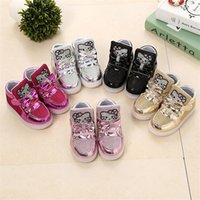 Wholesale Children Shoes New Spring Hello Kitty Rhinestone Led Shoes Sports Shoes Girls Princess Cute Shoes With Light Size