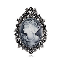 Wholesale Hot Selling Vintage Fashion Lady Head Brooch Antique Silver Brooch Pin Antique Gold Plated Alloy Cameo Brooch Pins Party Broach