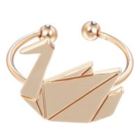band swans - 10pcs New Design Origami Goose Rings Charming Swan Rings Adjustable for Women Bague Femme
