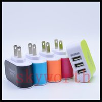 Wholesale 3 usb plug EU US Plug A USB Power Adapter Colorful Wall home Travel Charger power For Samsung iPhone HTC