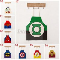 Wholesale America Usa Flag Superhero Aprons Doraemon Mickey Aprons Owl Creative Apron Cartoon Kitchen Apron Cooking Art Painting Smock Aprons B327