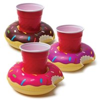 Wholesale Inflatable Donut Cup holder PVC Water coke cup holder Beverage Boats Big Mouth Swimming holder