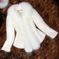Wholesale Fur Faux Fur Coat Mink Hair Rex Rabbit Hair Jacket Black White Fur Overcoat Imitation Rabbit Fur Faux Fox Collar XXXL