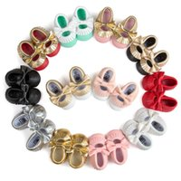 Wholesale New Baby First Walker Shoes Baby Moccasins Soft Sole PU Leather Colorful Bow Tassel Booties Toddlers Shoes