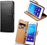 aqua handbag - Genuine Leather wallet Case For Sony Xperia M4 Aqua Z Z2 Z4 Z5 Compact mini Wallet Stand Card Holder Sleeve Flip Cover