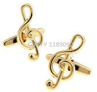 Wholesale High Grade NEW ARRIVAL Elegant Men Cufflinks Glossy Music Notes Pattern Exquisite Cuff Button Cufflinks