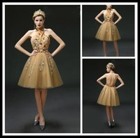Wholesale Sexy Gold Halter Cocktail Dresses Crystal Tulle A Line Knee Length Backless Special Occasion Evening Dresses Beaded Womens Party Gowns