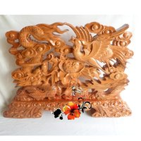 bamboo room screens - Phoenix Phoenix decoration crafts mahogany wood fan Fu living room table screen Home Furnishing jewelry Talisman