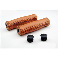 bicycle handlebar grips brown - Vintage Retro Artificial Leather Cycling Riding MTB Road Mountain Bike Bicycle Handlebar Grip Ends Green White Brown order lt no track