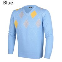 Wholesale 2016 new winter golf wool sweater jacket men v neck long sleeved knitted sweater golf breathable thermal outerwear