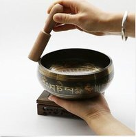 Wholesale Tibet Copper Crafted Gold Gilt Chakra Meditation large Singing Bowl