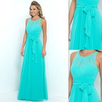 Wholesale Turquoise Bridesmaids Dresses Chiffon Sheer A line Long Brides Maid Gowns For Women Bridal Party Cheap Price