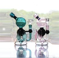Wholesale Best Circulation mm Bowl Famous Glass Bongs Oil Rigs Recycler Water Pipes Multi Layers Perc Glass Bong Hookahs